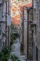 Narrow street passage  in Dubrovnik