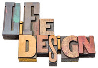 life design word abstract in wood type