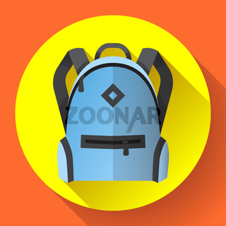 Icon of bright blue school or travel backpack