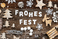 Wooden Decoration, Frohes Fest Means Merry Christmas, Tree And Sled, Snowflakes
