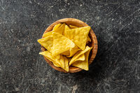 Corn nacho chips. Yellow tortilla chips