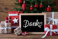 Christmas Tree, Gift, Text Danke Means Thank You