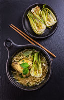 Hot Thai green curry chicken soup with pak choi and mushrooms