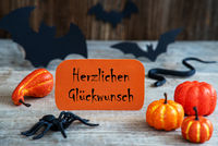 Orange Label, Glueckwunsch Means Congratulations, Scary Halloween Decoration
