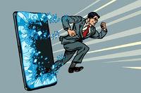businessman punches the screen Phone gadget smartphone. Online Internet application service program