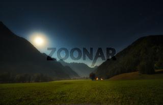 Alpine valley at night, Logarska valley, Slovenia