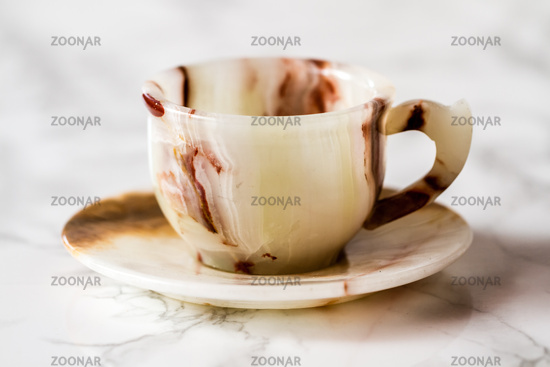 Coffee Cup Set with Brown Marble Pattern on White