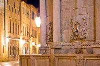 Dubrovnik Stradun street Onofrio Fountain detail evening view