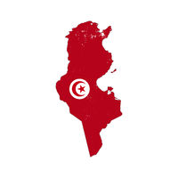 Tunisia country silhouette with flag on background, isolated on white