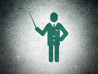 Education concept: Teacher on Digital Data Paper background