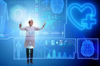 Woman doctor in telemedicine futuristic concept