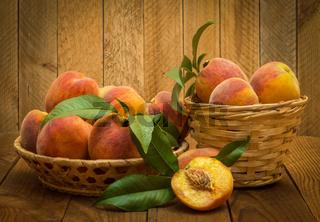 peaches in a basket