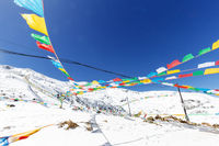 landscape of tibet with flag