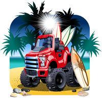 Vector cartoon 4x4 car on beach isolated