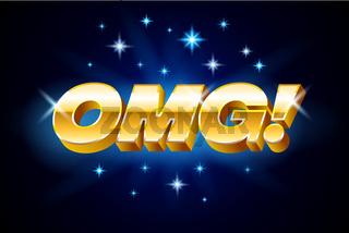 Gold omg inscription on blue background or banner with stars, emotion expression, vector illustration.