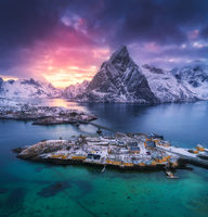 Aerial view of Hamnoy at dramatic sunset in winter in Norway