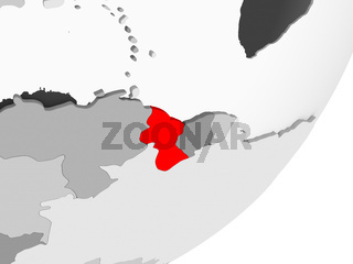 Guyana in red on grey map
