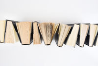 High angle image of a row of books standing on end on a white background
