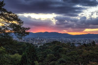 kyoto city view sunset