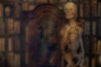 Textur Skelett mit alter Bibliothek