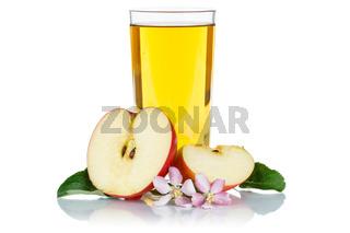 Apfelsaft Apfel Saft im Glas frisch Äpfel Fruchtsaft freigestellt isoliert