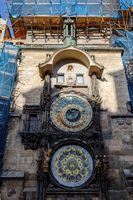repairing Prague astronomical clock 2017