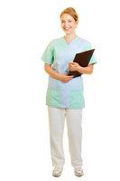 Frau im Kittel als Krankenpfleger vom Pflegedienst