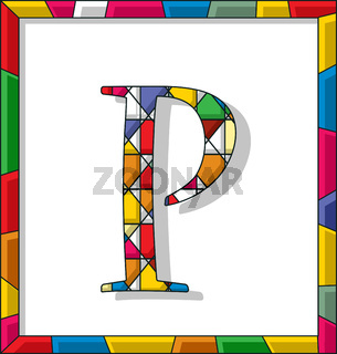 Letter P in stained glass