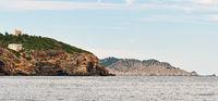 Northern rocky coast of Ibiza Island. Balearic island, Spain