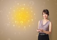 Person presenting something with question sign concept