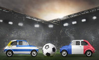 Uruguay and France cars on football stadium