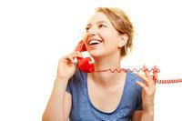 Junge Frau telefoniert mit Kundendienst Beratung
