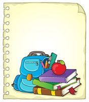 Notepad page with school equipment 1