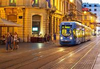 Tram Old Town street Zagreb