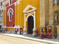 Street scene and colorful building facades of  old town in  Cartagena , Colombia