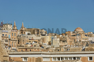 View of an architecture and downtown of Valletta in Malta