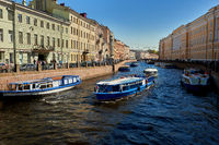 river moika with boats in saint petersburg russia