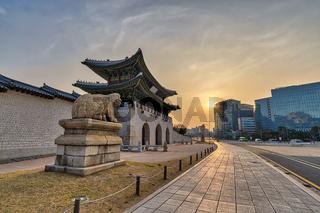 Seoul South Korea, Sunrise city skyline at Gwanghwamun Gate