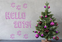 Christmas Tree, Cement Wall, English Text Hello 2019