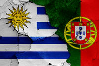 flags of Uruguay and Portugal