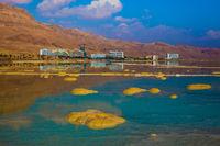 Hot summer sunset on the Dead Sea