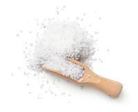 Salt With Wooden Scoop Isolated On White Background