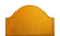 Yellow soft velvet bed headboard isolated on white