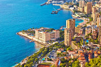 Monaco and Monte Carlo cityscape and harbor aerial view