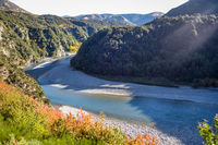 Mountain canyon and river landscape in New Zealand