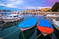 Town of Porec morning sunrise panoramic view from pier