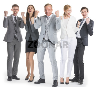 Business people holding fist ok yes gesture
