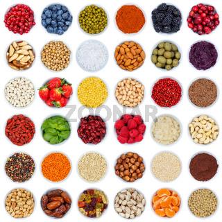 Früchte Beeren Gemüse Sammlung Nüsse von oben Quadrat isoliert freigestellt Freisteller