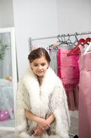 Little girl dressed like princess.