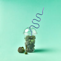 Freshly picked natural organic floats of broccoli in a big plastic glass with blue straw on a light green background.